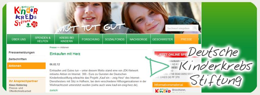 Deutsche Kinderkrebsstiftung über Kauf ein - zeig Herz